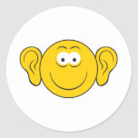 Cara grande del smiley de los oídos pegatinas redondas