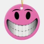 Cara grande rosada del smiley de la sonrisa adorno de navidad
