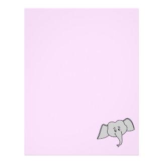 Cara gris del elefante. Historieta Plantilla De Membrete
