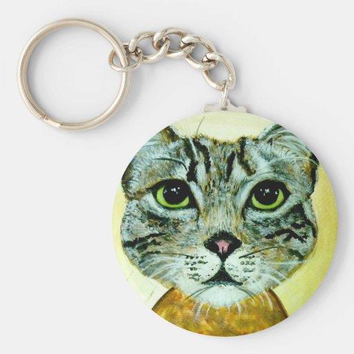 cara gris del gato de adgreycat8x10.jpg llavero redondo tipo pin