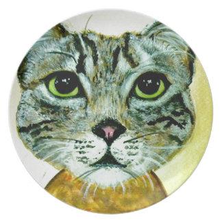 cara gris del gato de adgreycat8x10.jpg platos para fiestas