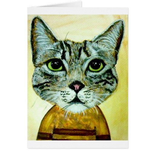 cara gris del gato de adgreycat8x10.jpg tarjeta de felicitación