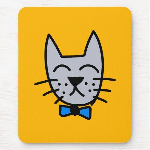 Cara gris del gato de la pintada alfombrilla de ratones