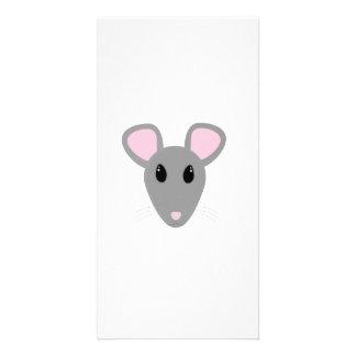 cara gris dulce del ratón tarjetas fotograficas