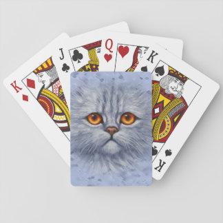 Cara gris mullida del gatito del gato de Tabby Cartas De Póquer