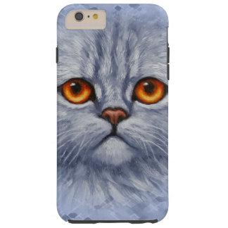 Cara gris mullida del gatito del gato de Tabby Funda Resistente iPhone 6 Plus