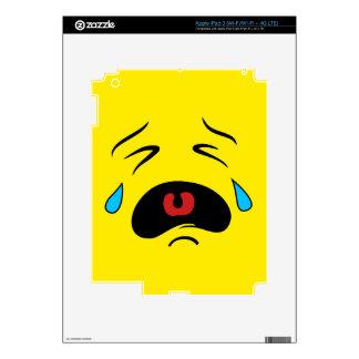 Cara gritadora triste estupenda Emoji iPad 3 Pegatinas Skins