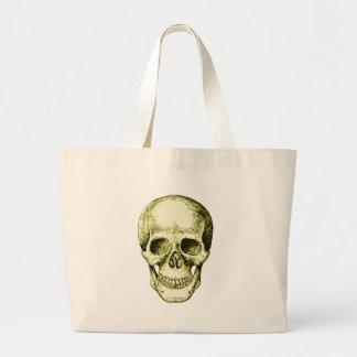 Cara humana de bronce del cráneo bolsa tela grande