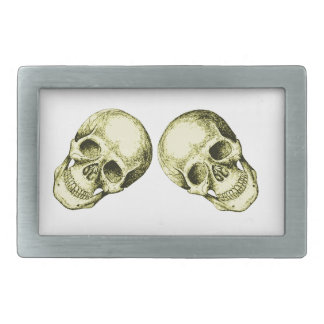 Cara humana de bronce del cráneo hebillas cinturon rectangulares