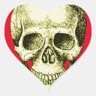 Cara humana de bronce del cráneo pegatina en forma de corazón