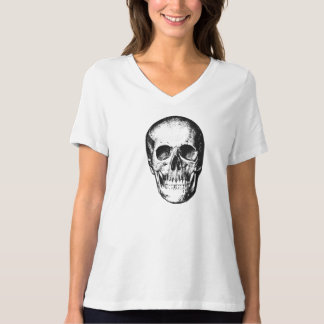 Cara humana del cráneo del vintage playera