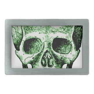 Cara humana verde del cráneo hebillas cinturón rectangulares