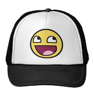 cara impresionante de la cara sonriente impresiona gorros bordados