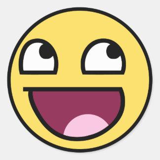 cara impresionante de la cara sonriente pegatinas redondas