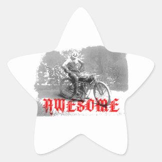Cara impresionante de la sonrisa del motorista pegatina en forma de estrella