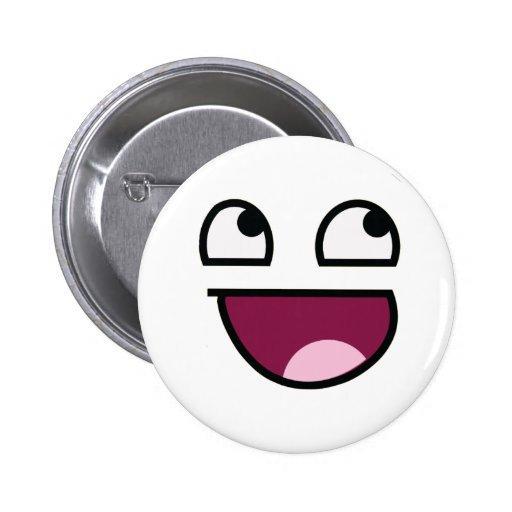 Cara impresionante del smiley de Lulz Pin Redondo De 2 Pulgadas