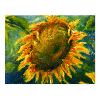Cara impresionista del girasol tarjetas postales