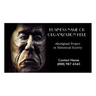 Cara india aborigen tallada en madera tarjetas de visita