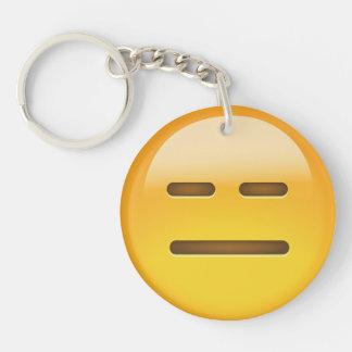 Cara inexpresiva Emoji Llavero Redondo Acrílico A Doble Cara