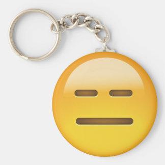 Cara inexpresiva Emoji Llavero Redondo Tipo Pin