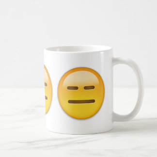 Cara inexpresiva Emoji Taza Básica Blanca