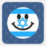 Cara israelí del smiley de la bandera pegatina cuadrada