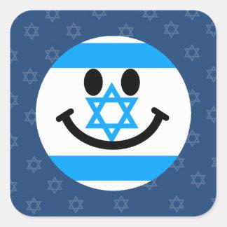 Cara israelí del smiley de la bandera colcomanias cuadradass