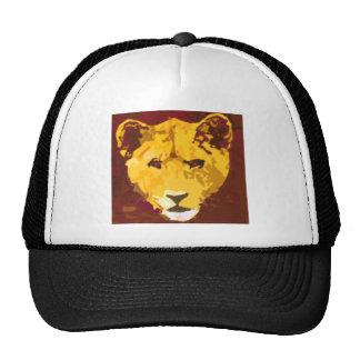 Cara joven del león gorras de camionero