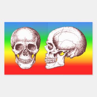 Cara lateral de los cráneos humanos rojos pegatina rectangular