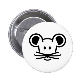 Cara linda de la cabeza del ratón pin redondo 5 cm