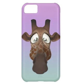 Cara linda de la jirafa del dibujo animado funda para iPhone 5C