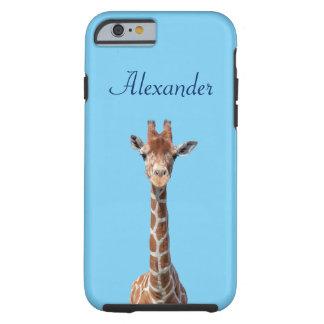 Cara linda de la jirafa funda resistente iPhone 6