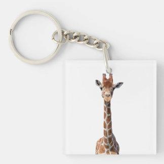 Cara linda de la jirafa llavero cuadrado acrílico a doble cara