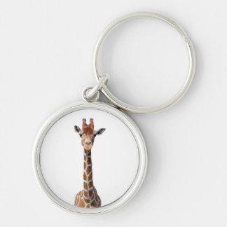 Cara linda de la jirafa llavero redondo plateado