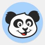 Cara linda de la panda etiquetas redondas