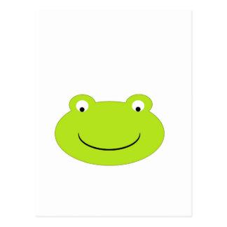 Cara linda de la rana verde tarjeta postal