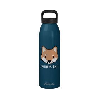 Cara linda de Shiba Inu con el texto de encargo Botellas De Agua Reutilizables
