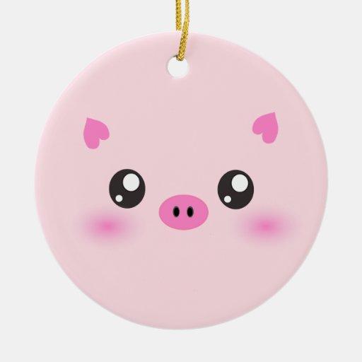 Cara linda del cerdo - minimalism del kawaii adorno navideño redondo de cerámica