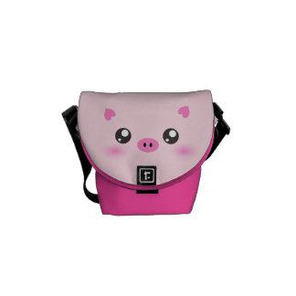 Cara linda del cerdo - minimalism del kawaii bolsa messenger