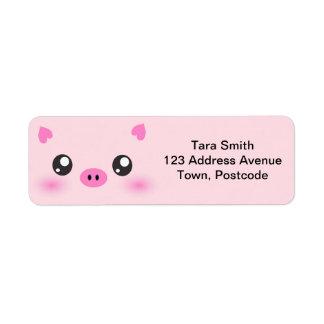 Cara linda del cerdo - minimalism del kawaii etiquetas de remite