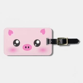 Cara linda del cerdo - minimalism del kawaii etiquetas maletas