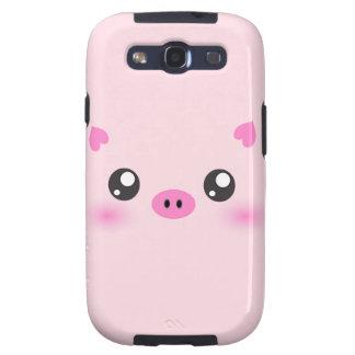 Cara linda del cerdo - minimalism del kawaii galaxy SIII fundas