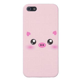 Cara linda del cerdo - minimalism del kawaii iPhone 5 carcasa