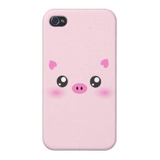 Cara linda del cerdo - minimalism del kawaii iPhone 4/4S fundas