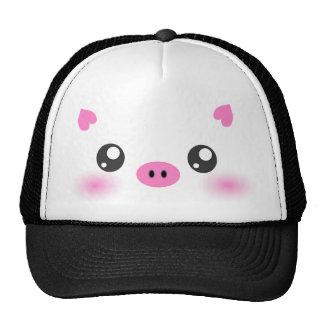 Cara linda del cerdo - minimalism del kawaii gorra