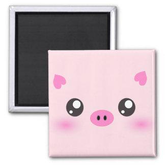 Cara linda del cerdo - minimalism del kawaii imán cuadrado