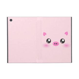 Cara linda del cerdo - minimalism del kawaii iPad mini fundas