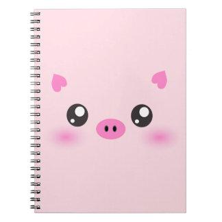 Cara linda del cerdo - minimalism del kawaii libretas