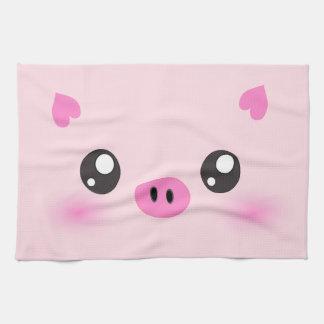 Cara linda del cerdo - minimalism del kawaii toallas de mano