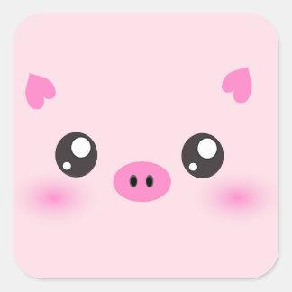 Cara linda del cerdo - minimalism del kawaii calcomanías cuadradas